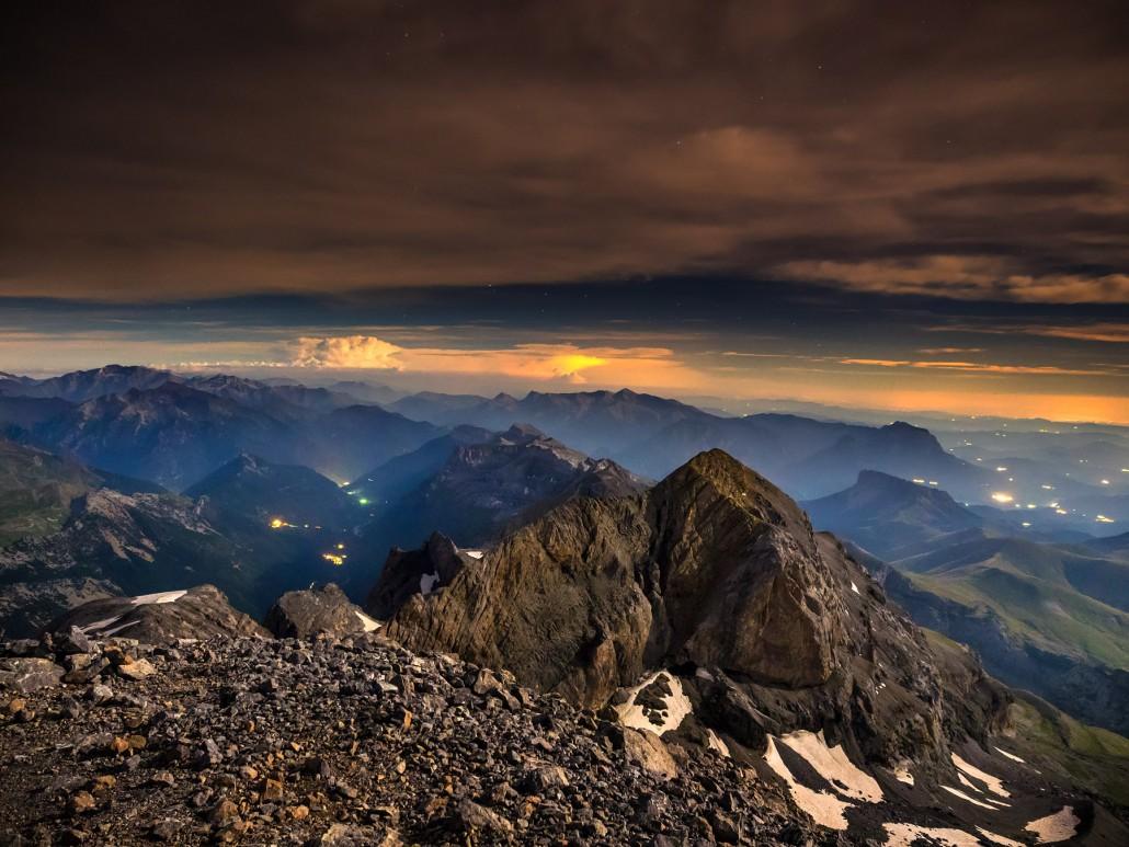 Vista nocturna desde Monte Perdido